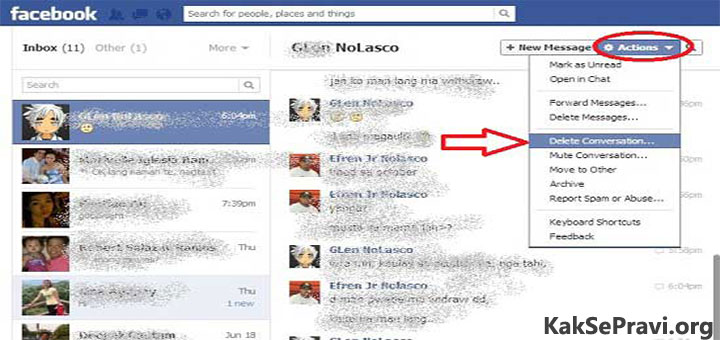 how to clear facebook messages